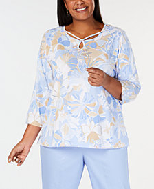 Alfred Dunner Plus Size Turtle Cove Floral-Print Keyhole Top