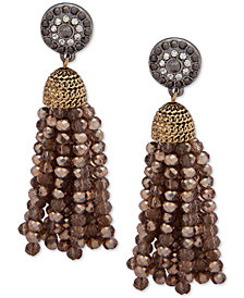 lonna & lilly Two-Tone Crystal & Bead Tassel Drop Earrings