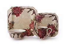 222 Fifth Yuletide Celebration 16 Piece Dinnerware Set