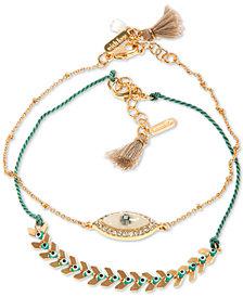lonna & lilly Gold-Tone 2-Pc. Set Crystal & Stone Evil Eye Ankle Bracelets