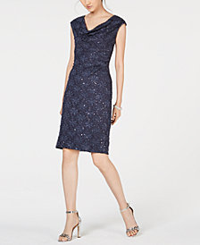 Connected Petite Sleeveless Sequined Lace Dress