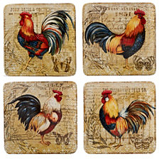 Certified International Gilded Rooster 4-Pc. Salad Plate