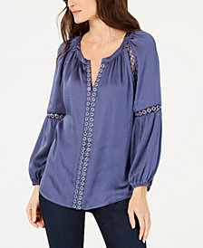I.N.C. Grommet-Trim Peasant Blouse, Created for Macy's