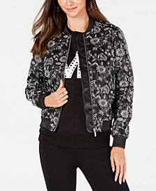 MICHAEL Michael Kors Floral-Embroidered Bomber Jacket
