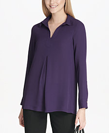Calvin Klein Georgette Long-Sleeve Top