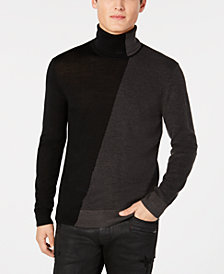A|X Armani Exchange Men's Diagonal Colorblocked Turtleneck Sweater