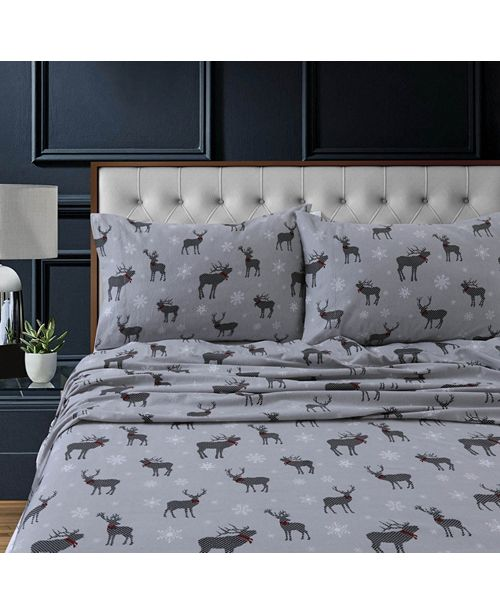 Tribeca Living Checkered Buck Heavyweight Cotton Flannel Printed Extra Deep Pocket Full Sheet Set