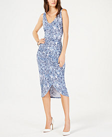 I.N.C. Printed Tulip-Bottom Dress, Created for Macy's