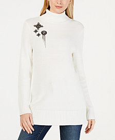 I.N.C. Long Turtleneck Brooch Sweater, Created for Macy's