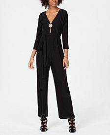 No Comment Juniors' Necklace Surplice Jumpsuit