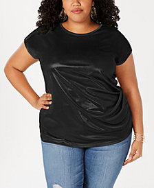 I.N.C. Plus Size Metallic Twisted T-Shirt, Created for Macy's