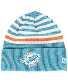 New Era Miami Dolphins Striped2 Cuff Knit Hat