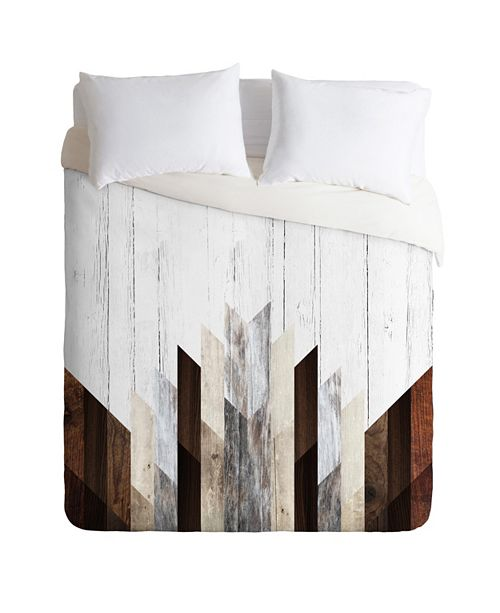 Deny Designs Iveta Abolina Geo Wood 3 Queen Duvet Set