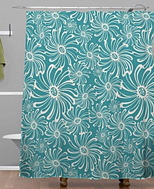 Heather Dutton Bursting Bloom Peacock Shower Curtain