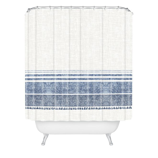 Deny Designs Holli Zollinger French Linen Chambray Tassel Shower Curtain