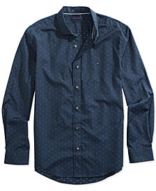 Tommy Hilfiger Adaptive Men's Dobby Custom Fit Shirt with Magnetic Buttons