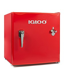 Igloo 1.6-Cu. Ft. Classic Refrigerator Freezer W- Chrome Handle & Bottle Opener, Red
