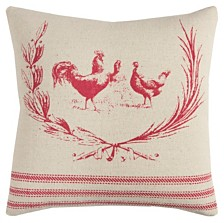 """Rizzy Home 20"""" x 20"""" Rooster Poly Filled Pillow"""