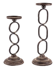Set Of 2 Chain Candle Holders Antique