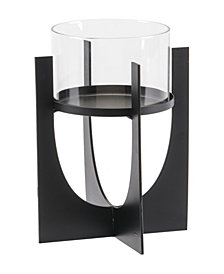 Equis Black Candle Holder Sm Black