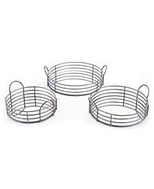 Round Black Trays, Set Of 3