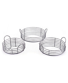 Set Of 3 Round Trays Black