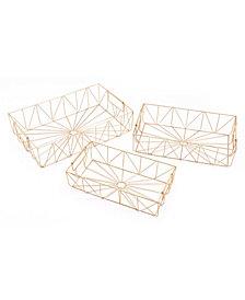 Set Of 3 Rectangular Trays Gold