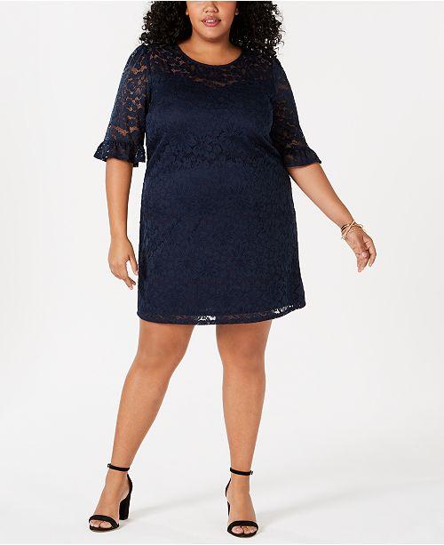 Monteau Trendy Plus Size Lace A-Line Dress & Reviews - Dresses ...