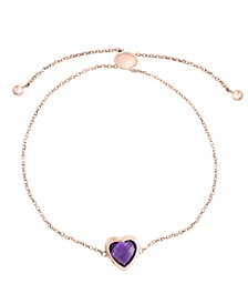 EFFY® Amethyst (2-1/6 ct.t.w.) Heart Bracelet in 14k Rose Gold