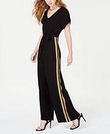 No Comment Juniors' Dolman Striped Jumpsuit