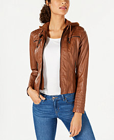 Maralyn & Me Juniors' Hooded Faux-Leather Moto Jacket