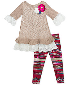 Rare Editions Baby Girls 2-Pc. Lace-Trim Top & Printed Leggings Set