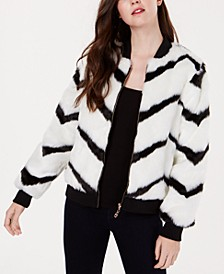 Juniors' Chevron-Printed Faux-Fur Bomber Jacket