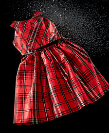 bonnie jean big girls metallic plaid dress - Girls Plaid Christmas Dress