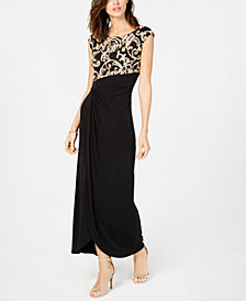 Connected Soutache Faux-Wrap Gown