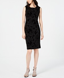 Connected Floral Velvet Sheath Dress