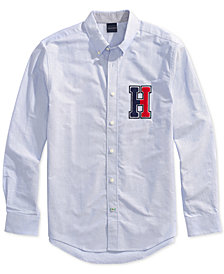 Tommy Hilfiger Adaptive Men's H Applique Shirt with Magnetic Buttons