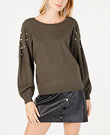I.N.C. Embellished Balloon-Sleeve Sweater, Created for Macy's