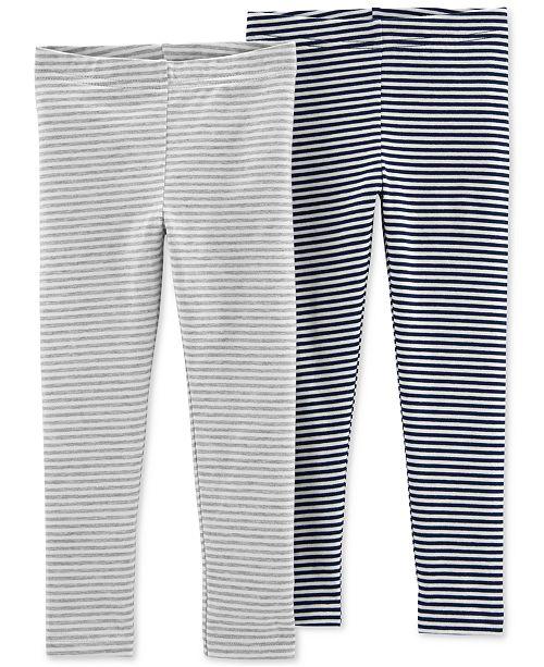 5d8146bb8 Carter's Toddler Girls 2-Pack Striped-Print Leggings - Leggings ...
