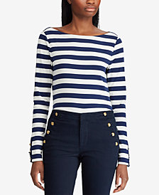 Lauren Ralph Lauren Striped Long-Sleeve Cotton Top
