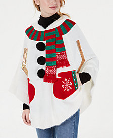 Hooked Up by IOT Juniors' Snowman Poncho Sweater
