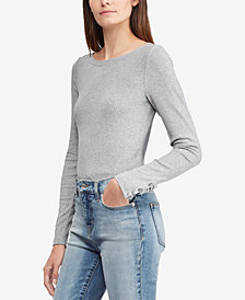 Lauren Ralph Lauren Ribbed Boat Neck Long-Sleeve Top