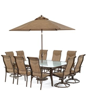 """CLOSEOUT! Oasis Outdoor Aluminum 11-Pc. Dining Set (84"""" x 60"""" Dining Table, 6 Dining Chairs and 4 Swivel Rockers), Created for Macy's"""
