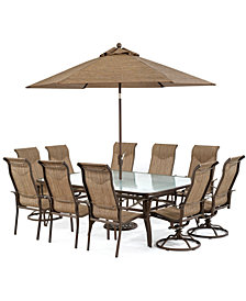"CLOSEOUT! Oasis Outdoor Aluminum 11-Pc. Dining Set (84"" x 60"" Dining Table, 6 Dining Chairs and 4 Swivel Rockers), Created for Macy's"