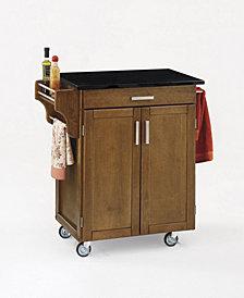 Home Styles Cuisine Cart Warm Oak  Finish Black Granite Top