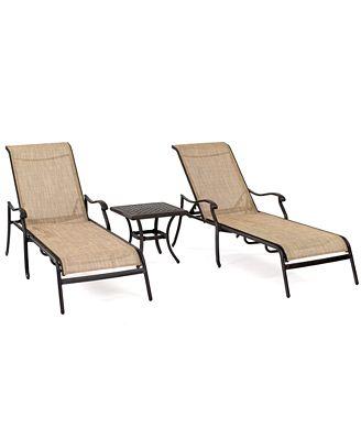 Vintage Outdoor Cast Aluminum 3 Pc Chaise Set 2 Lounges