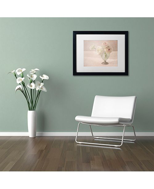 "Trademark Global Cora Niele 'White Persian Buttercups Posy' Matted Framed Art, 16"" x 20"""
