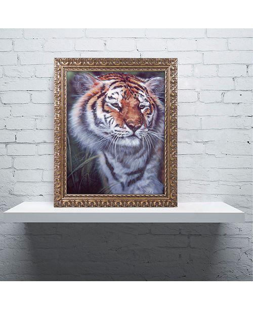 "Trademark Global Jenny Newland 'Tiger In The Midst' Ornate Framed Art, 16"" x 20"""