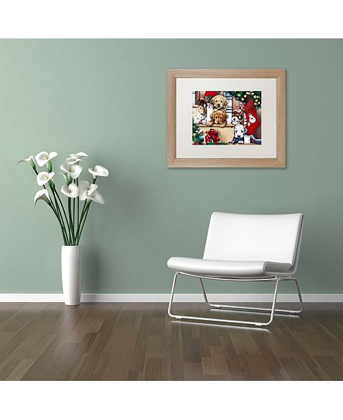 "Trademark Global Jenny Newland 'Christmas Puppies On The Loose' Matted Framed Art, 16"" x 20"""