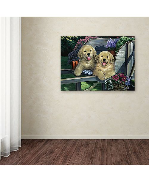 """Trademark Global Jenny Newland 'Wagging Along For The Ride' Canvas Art, 18"""" x 24"""""""
